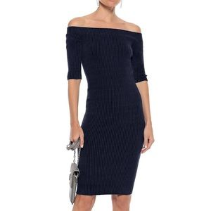 Helmut Lang Rib Chenille Off Shoulder Dress Blue